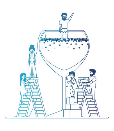 minipeople team working in fresh cocktail vector illustration design 向量圖像