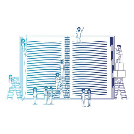 minipeople team working in book vector illustration design