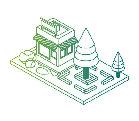 store building exterior with landscape isometric vector illustration design 일러스트