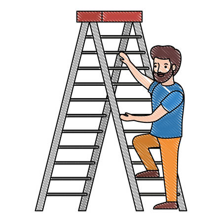 man climbing stepladder character vector illustration design Illustration