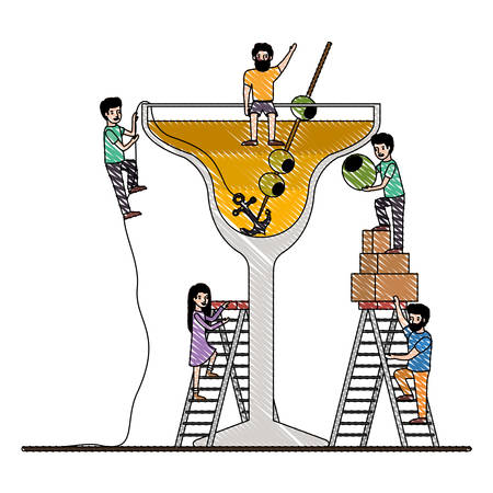 minipeople team working in fresh cocktail vector illustration design  イラスト・ベクター素材