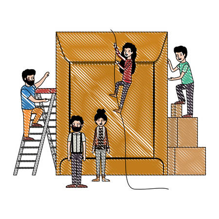 minipeople team working in envelope vector illustration design