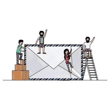 minipeople team working in envelope vector illustration design