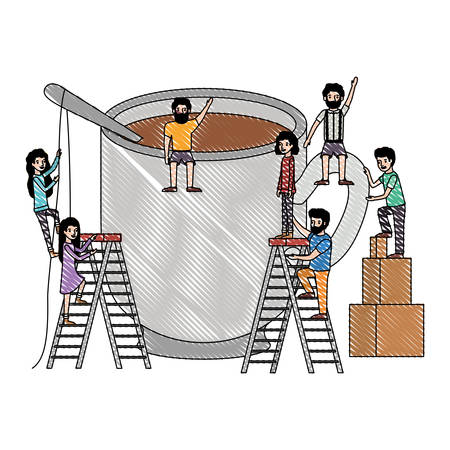 minipeople team working in coffee cup vector illustration design