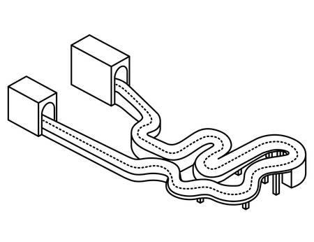 highway and tunnel isometric vector illustration design Illustration