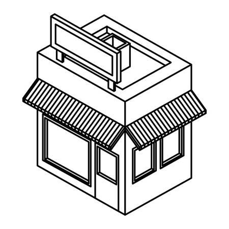 store building exterior isometric icon vector illustration design 矢量图像