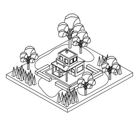 exterior house with landscape isometric icon vector illustration design