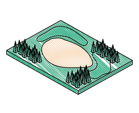 golf course with trap sand isometric scene vector illustration design