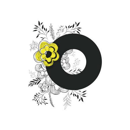 letter o with handmade font and floral decoration vector illustration design