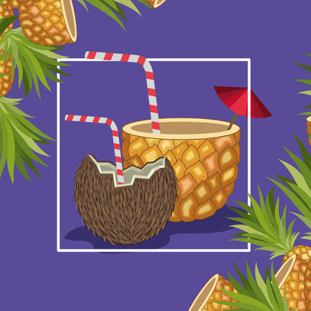 fresh pineapple and coconut tropical fruits vector illustration design