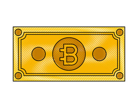 bill bitcoin commerce technology icon vector illustration design