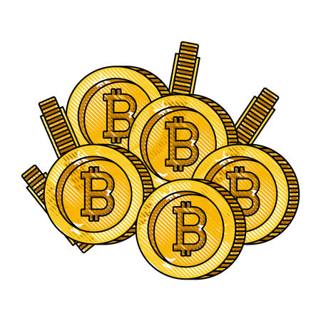 bitcoins coins commerce technology vector illustration design Vectores