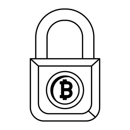 padlock with bitcoin commerce vector illustration design