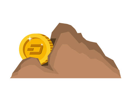 cryptocurrency dash money in mountain mining vector illustration design