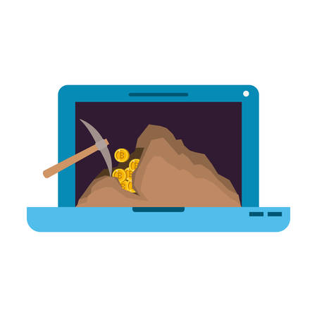 laptop with pick mining bitcoin commerce vector illustration design