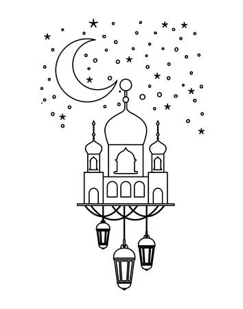 arabic castle with lamps hanging in the night vector illustration design