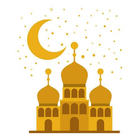 arabic castle building facade in the night vector illustration design