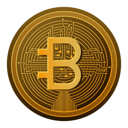 bitcoin with circuit lines commerce technology vector illustration design