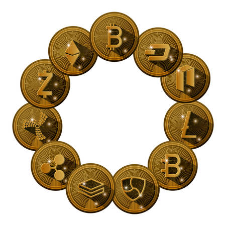 cryptocurrency set coins icons vector illustration design