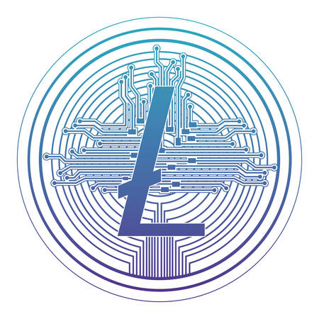 cryptocurrency litecoin coin with circuit lines vector illustration design