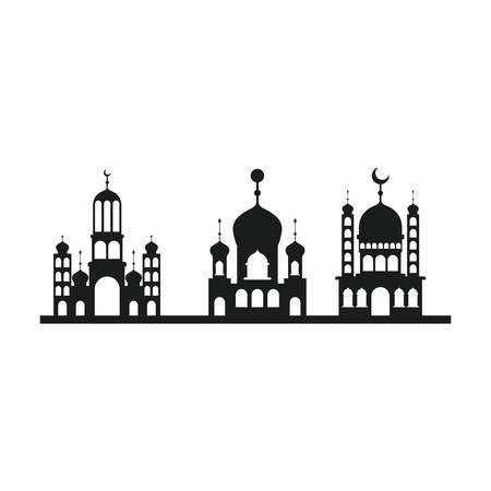 arabic castles buildings cityscape vector illustration design