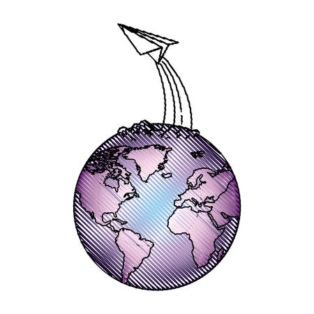 world planet earth with paper airplane vector illustration design 向量圖像