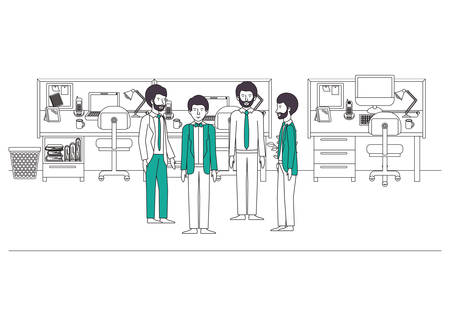 group of businessmen in the office vector illustration design  イラスト・ベクター素材