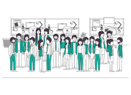 business people in the workplace characters vector illustration design Illustration