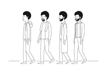 group of men walking characters vector illustration design