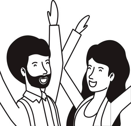 young couple celebrating avatars characters vector illustration design