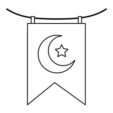 garland with crescent moon and star hanging vector illustration design