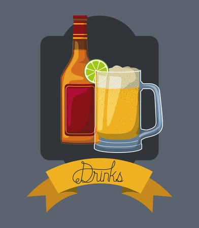 best drink beer bottle with cup frame vector illustration design 矢量图像