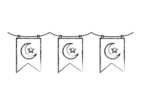 garlands with crescent moon and star hanging vector illustration design Illustration