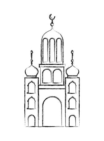 arabic castle tower with moon vector illustration design