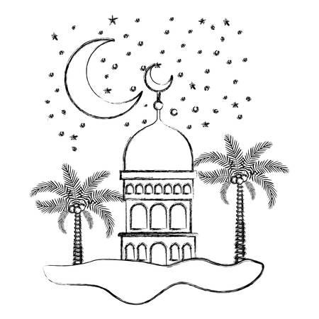 arabic castle with moon in the night scene vector illustration design