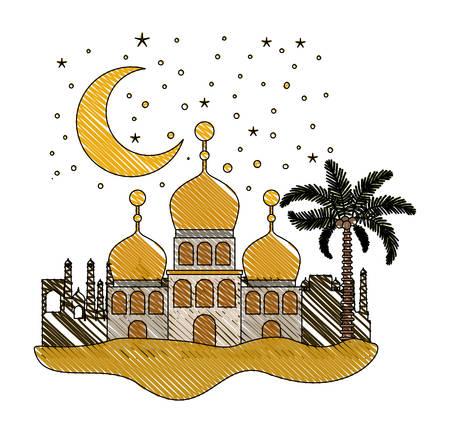 arabic castles in the night scene vector illustration design