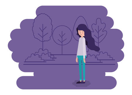 woman in the landscape scene vector illustration design