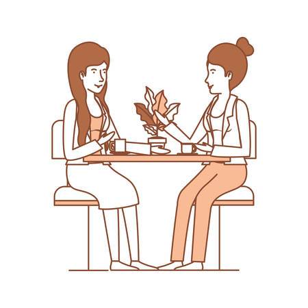 women in the table drinking coffee with house plant vector illustration design
