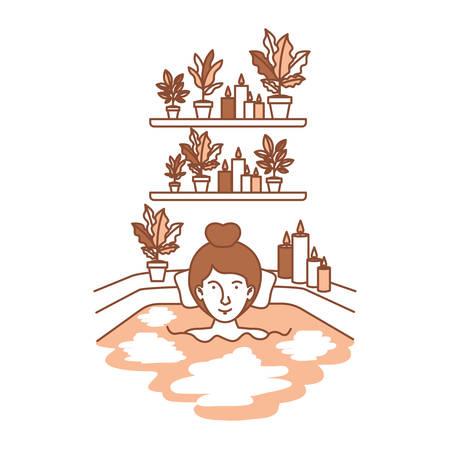 woman in the bathtub and houseplants vector illustration design Illustration
