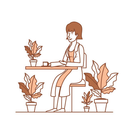 woman in the table drinking coffee with house plants vector illustration design