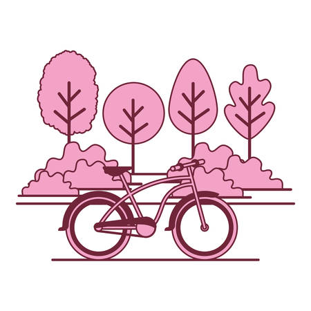 forest landscape with bicycle scene vector illustration design