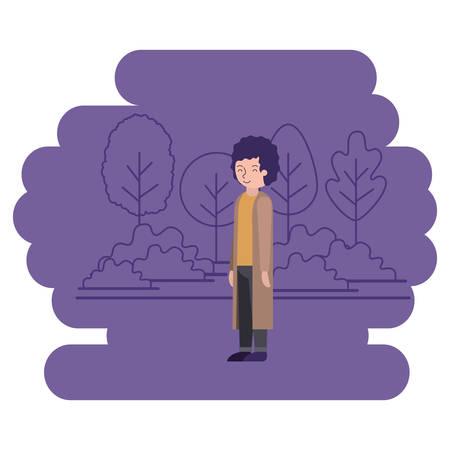 man in the park scene vector illustration design