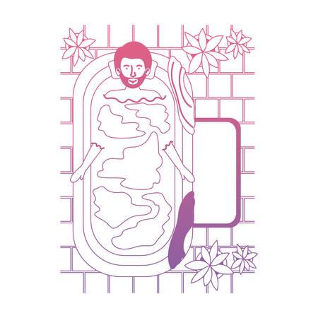 man in the bathtub and houseplants vector illustration design