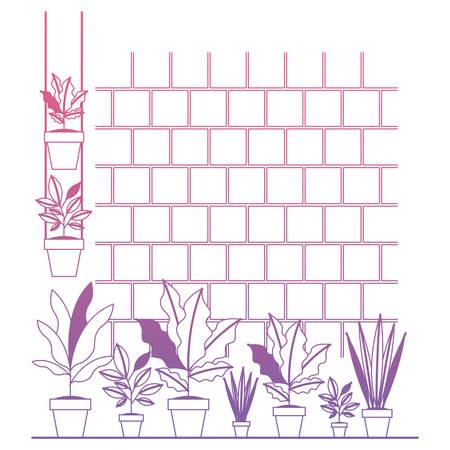 wall with houseplants scene vector illustration design