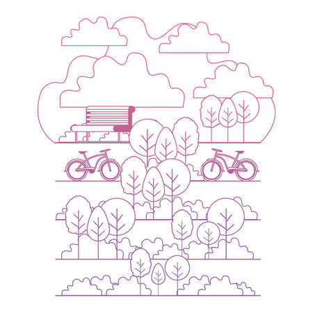 park with chair and bicycle scene vector illustration design 矢量图像