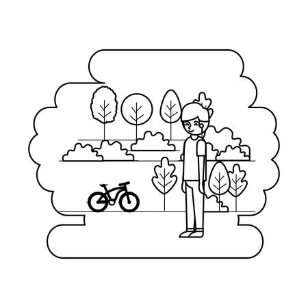 man in the park with bicycle vector illustration design Illustration