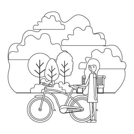 woman in the park with bicycle vector illustration design