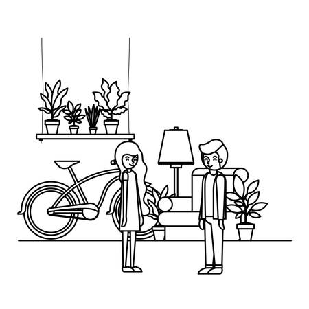 couple in the livingroom with houseplants and bicycle vector illustration