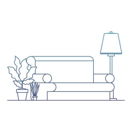 living room with houseplants scene vector illustration design