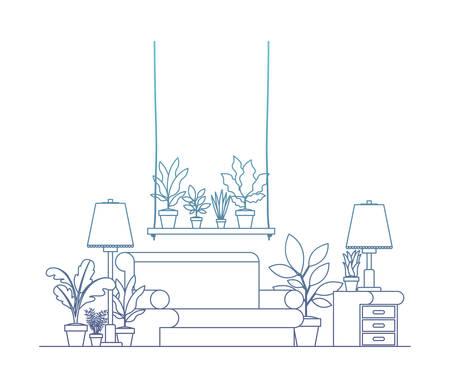 living room with houseplants scene vector illustration design Illustration